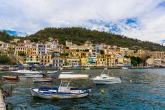 Harbor of Gythio in Mani, Peloponnese, Greece. Picturesque view of the town and harbor of Gythio city in Peloponnese Greece stock photography