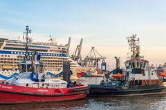 Tug boats in the Harbor of Hamburg Royalty Free Stock Image