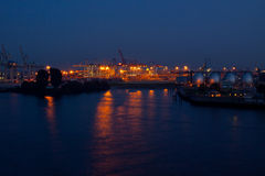 The harbor of Hamburg by night Stock Images