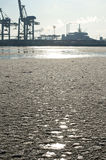 Harbor Hamburg in wintertime Royalty Free Stock Photo