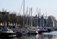 The harbor of Harlingen. Netherlands, Harlingen,-june 2016: Ships moored in the port Royalty Free Stock Images