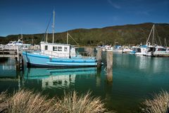 Harbor of Havelock in the Marlborough Sounds. New Zealand Stock Photo