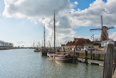 The harbor of the historic city Zierikzee Zeeland royalty free stock images