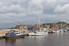 Harbor historic Dutch village Urk with modern sailing yachts Stock Images
