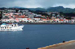 The harbor of Horta. In the Azores archipelago in the middle of the Atlantic ocean. Horta is an almost obligatory stop for any ship which crosses the Atlantic royalty free stock images