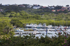 Harbor and houses in Willemstad on Curacao Stock Photography