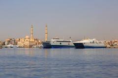 Harbor of Hurghada. In Egypt Stock Image