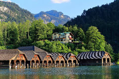 Harbor idyll of mountain lake Königssee with Cafe Malerwinkel Royalty Free Stock Images