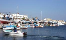 The harbor in Ierapetra, Crete stock photo
