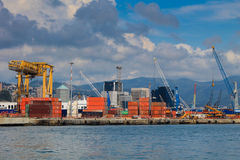 Harbor industrial cranes in port Royalty Free Stock Photos
