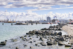 Harbor and industrie Warnemunde Royalty Free Stock Image