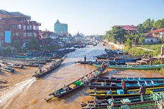 Harbor at Inle Lake in Myanmar Stock Images