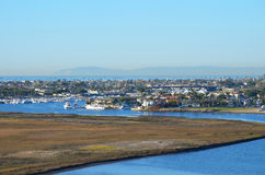 Harbor inlet with Catalina Island in the background Stock Photos