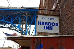 The Harbor Inn, established in 1895, in the Flats of Cleveland, Ohio, USA. The Habor Inn bar in the Flats district of Cleveland, Ohio, USA was established in royalty free stock photography