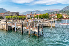 Harbor of Intra, is a little town on Lake Maggiore. Italy stock photography