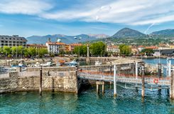 Harbor of Intra Verbania, is a little town on the shore of Lake Maggiore. Harbor of Intra Verbania, is a little town on the shore of Lake Maggiore, Italy royalty free stock photo