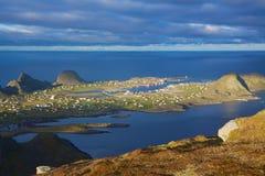 Harbor on island. Scenic fishing harbor of Sorland on picturesque island of Vaeroy, Lofoten, Norway Stock Photo
