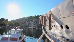 Harbor on island Sipan, Dubrovnik archipelago stock video
