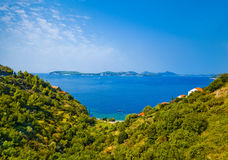 Harbor and islands in Croatia Stock Photo