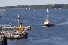 The Harbor of Kiel. Ships sailing in the harbor of Kiel, Germany Stock Photography