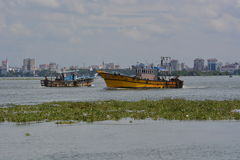 Harbor of Kochi with water lily Stock Images