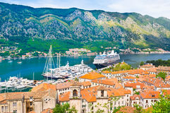 The harbor of Kotor stock photos