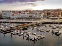 Harbor of La Coruna, Spain. LA CORUNA, SPAIN - 27 MARCH, 2017: Harbor of La Coruna, Galicia. Sailboats and professional fishing boats and yachts in La Coruna royalty free stock photo