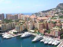 The harbor of La Fontvieille, Monaco. The harbor and new development of La Fontvieille, monaco royalty free stock image