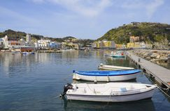 Harbor of Lacco Ameno village, Ischia island, Italy Stock Images