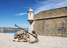 The harbor from lagos in Portugal. Anchor and monument in Lagos Algarve Portugal Stock Image