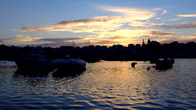 The harbor in Lagos Portugal at dusk stock footage