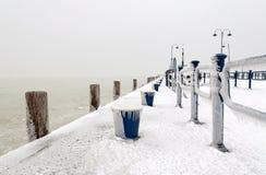 Harbor at Lake Balaton in winter time,Hungary Royalty Free Stock Photography
