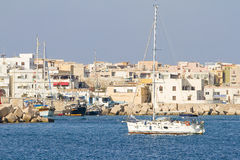 Harbor of Lampedusa stock photo