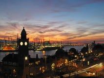 Harbor and Landungsbruecken at night, Hamburg, Germany. Europe royalty free stock image