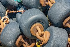 Bobbins used for shrimp fishing nets at Dutch Wadden sea stock photo