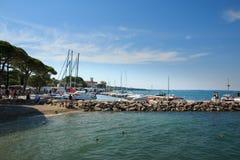 Harbor in Lazise on Lake Garda, Italy royalty free stock photos