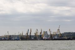 Harbor with level-luffing cranes Stock Photography