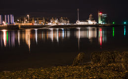 Harbor Lights. An area not explored much due to its bad fame but braved up and got a few colorful and powerful images of the Aberdeen Harbor by night royalty free stock photography