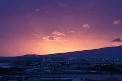 Harbor Lights. Twilight view of Honolulu Harbor, island of O`ahu, Hawai`i, USA Stock Image