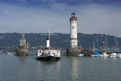 Harbor of Lindau. With steamship Hohentwiel Royalty Free Stock Photo