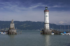 Harbor of Lindau. At the famous Bodensee lake Stock Images