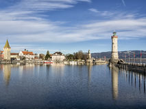 Harbor of Lindau. Image of the harbor of Lindau with lighthouse at lake constance in Germany Royalty Free Stock Photo