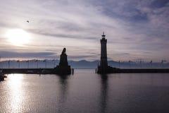 Harbor of Lindau at pink sunrise, Germany Royalty Free Stock Images