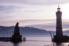 Harbor of Lindau at sunrise, Germany Royalty Free Stock Photography