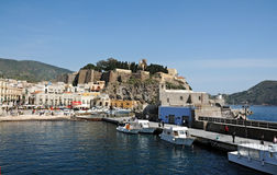 Harbor of Lipari Stock Photo