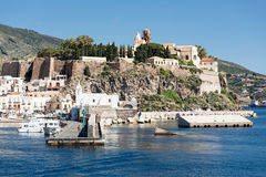 Harbor of Lipari, Aeolian Islands near Sicily, Italy Royalty Free Stock Images
