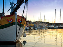Harbor of Losinj. View of the quiet port of Losinj in the summer twilight Royalty Free Stock Photo