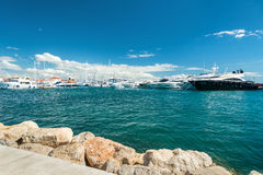 Harbor with lot of modern yachts Stock Photos