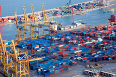 Harbor with lots of cargo Royalty Free Stock Images