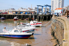 Harbor, low tide, Bridlington. Royalty Free Stock Photos